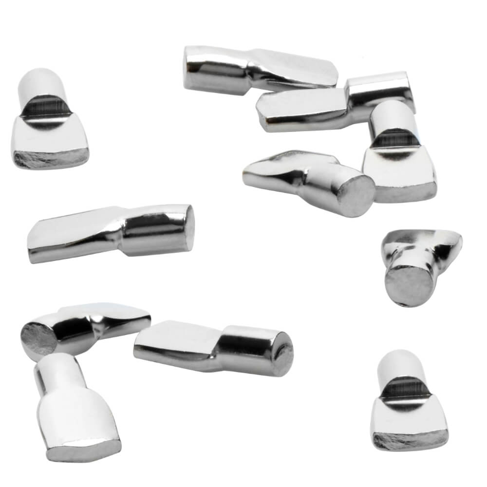 """1/4"""" Polished Nickel Spoon Shelf Support Pegs - 25 Pack"""