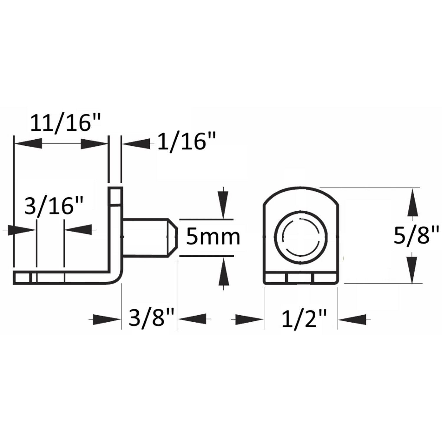 """5mm Polished Brass """"Bracket"""" With Hole Shelf Support Pegs - 25 Pack"""