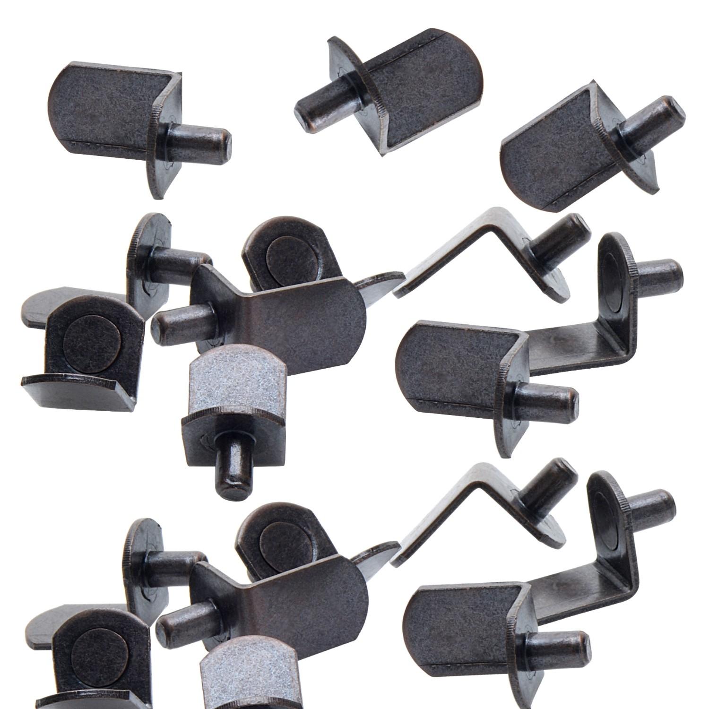 """5mm Antique Brass """"Bracket"""" Shelf Support Pegs - 25 Pack"""