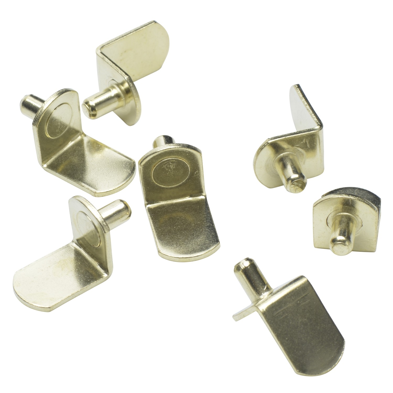 "5mm Polished Brass ""Bracket"" Shelf Support Pegs - 25 Pack"
