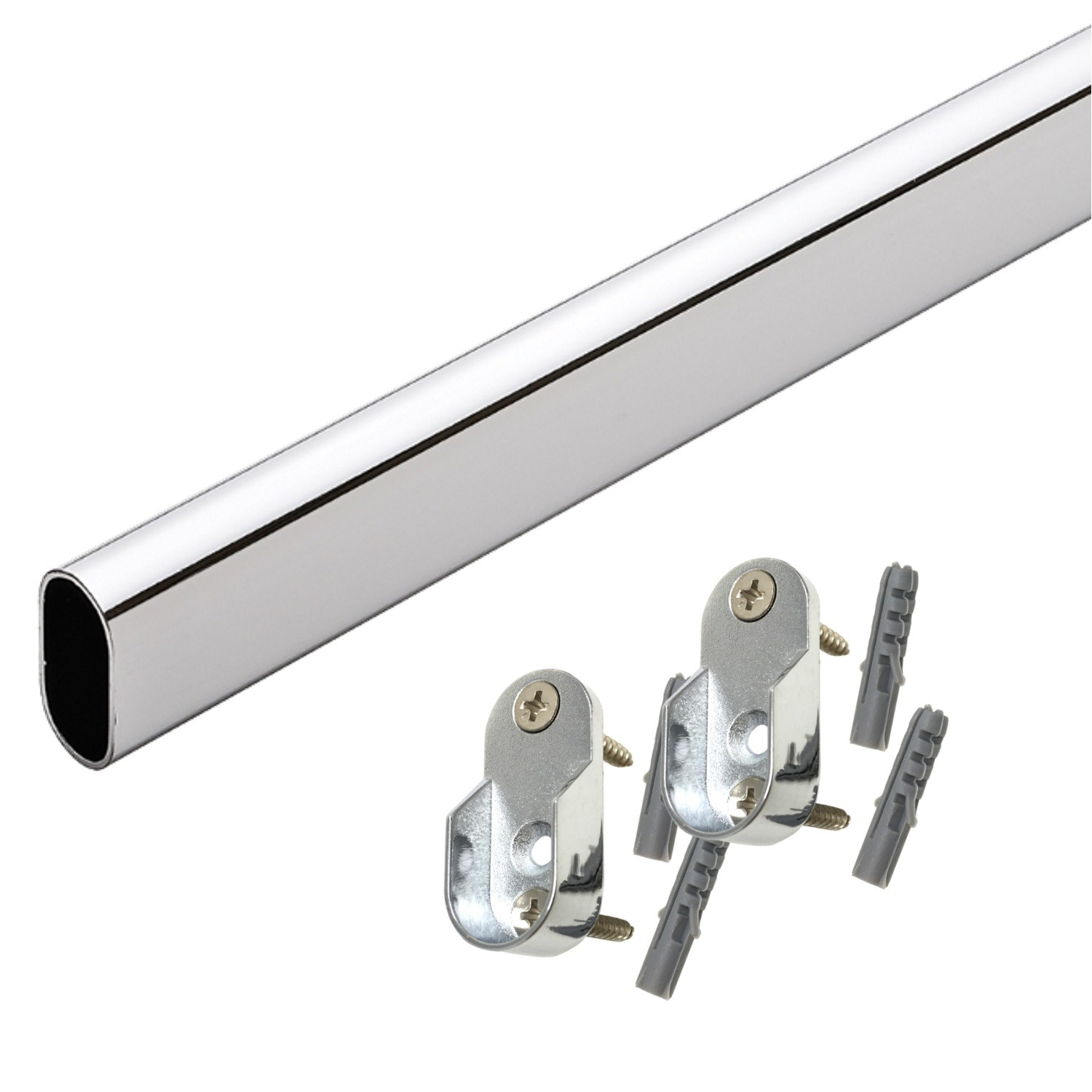 Oval Closet Rod with End Cups - Chrome