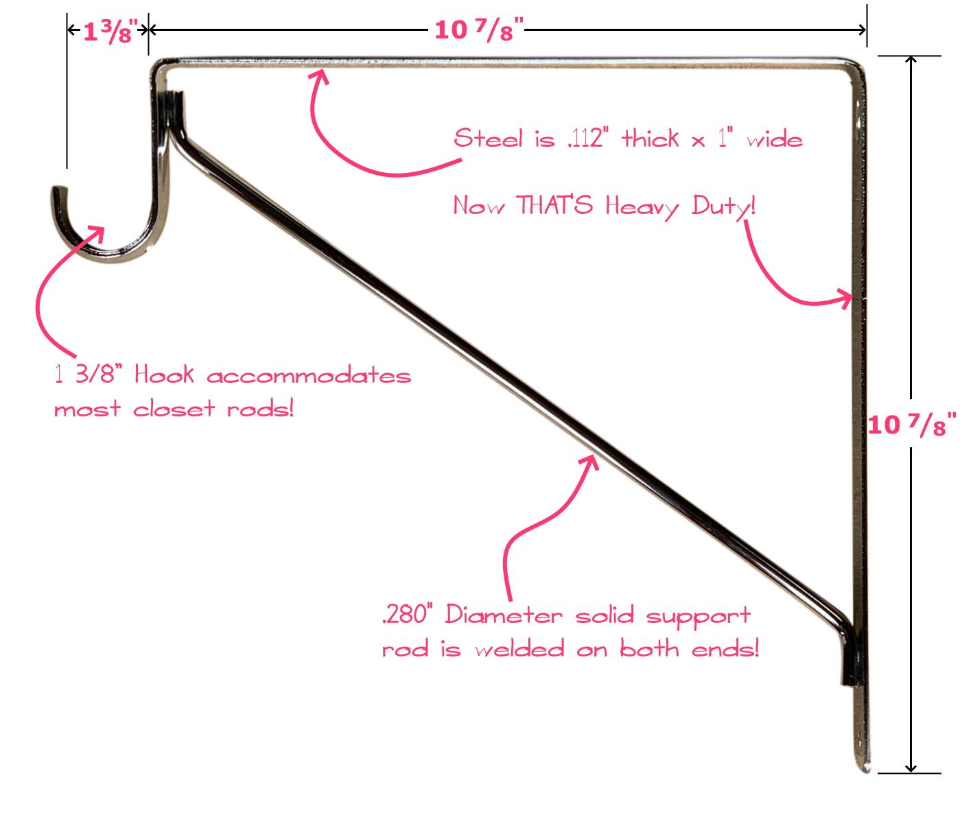 Fixed Closet Shelf Bracket for Round Rod - Chrome