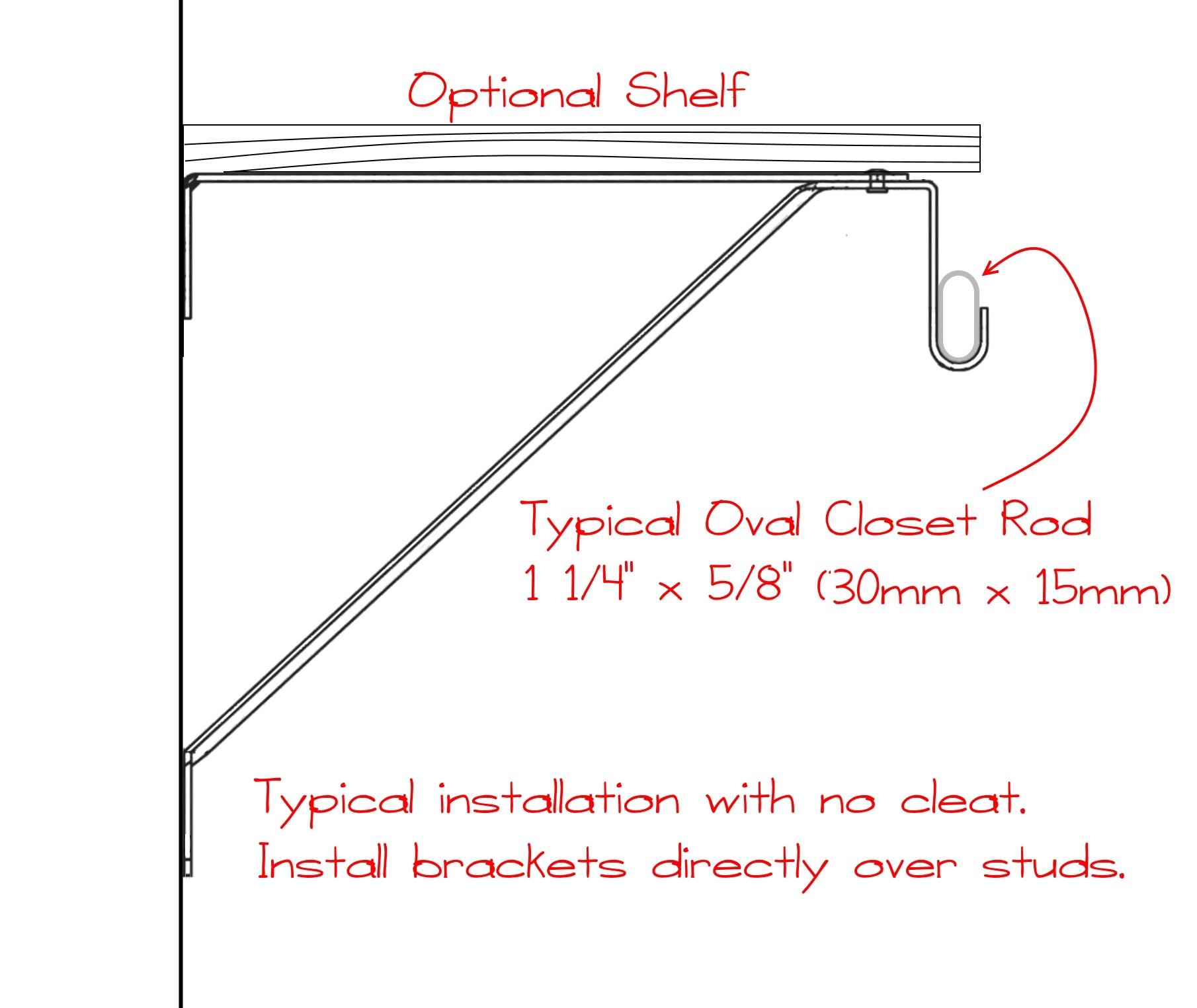 Picture of: Organization Closet Oval Rods Adjustable Closet Shelf Bracket For Oval Rod