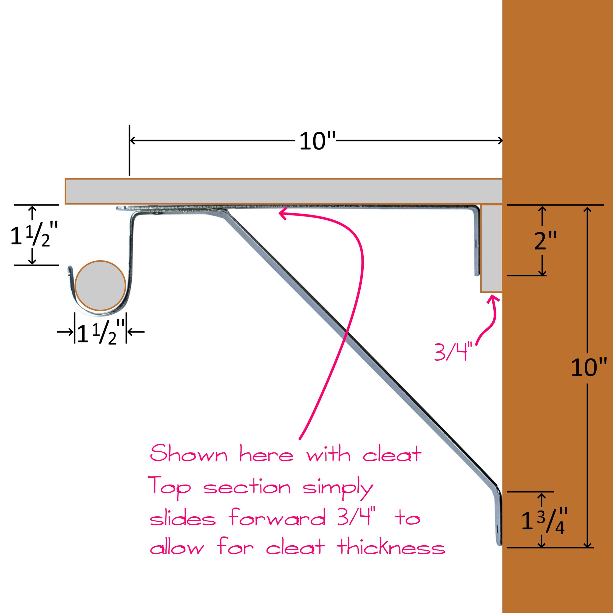 Adjustable Closet Shelf Bracket for Round Rod - White