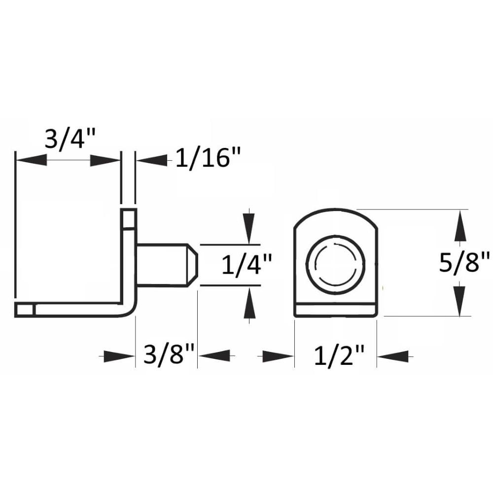 "1/4"" Polished Nickel ""Bracket"" Shelf Support Pegs - 25 Pack"