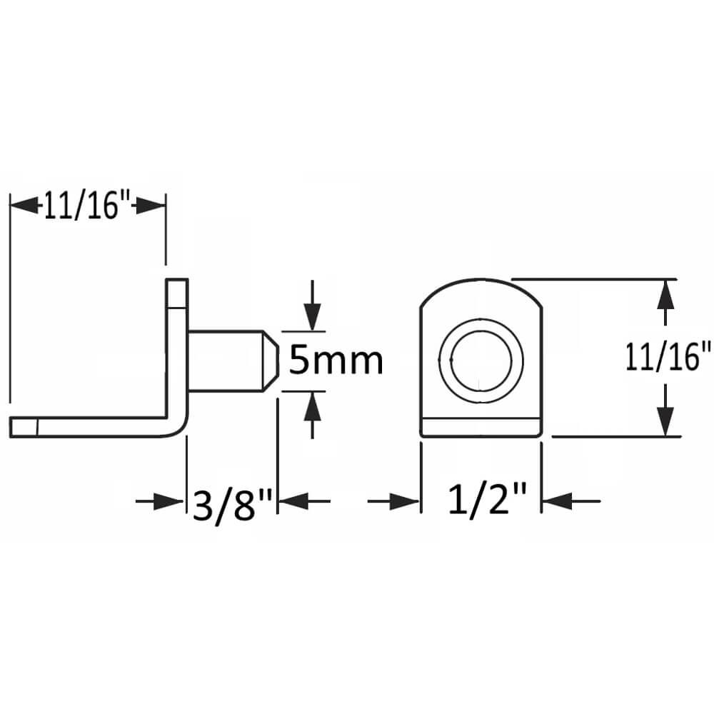 "5mm Polished Nickel ""Bracket"" Shelf Support Pegs - 25 Pack"