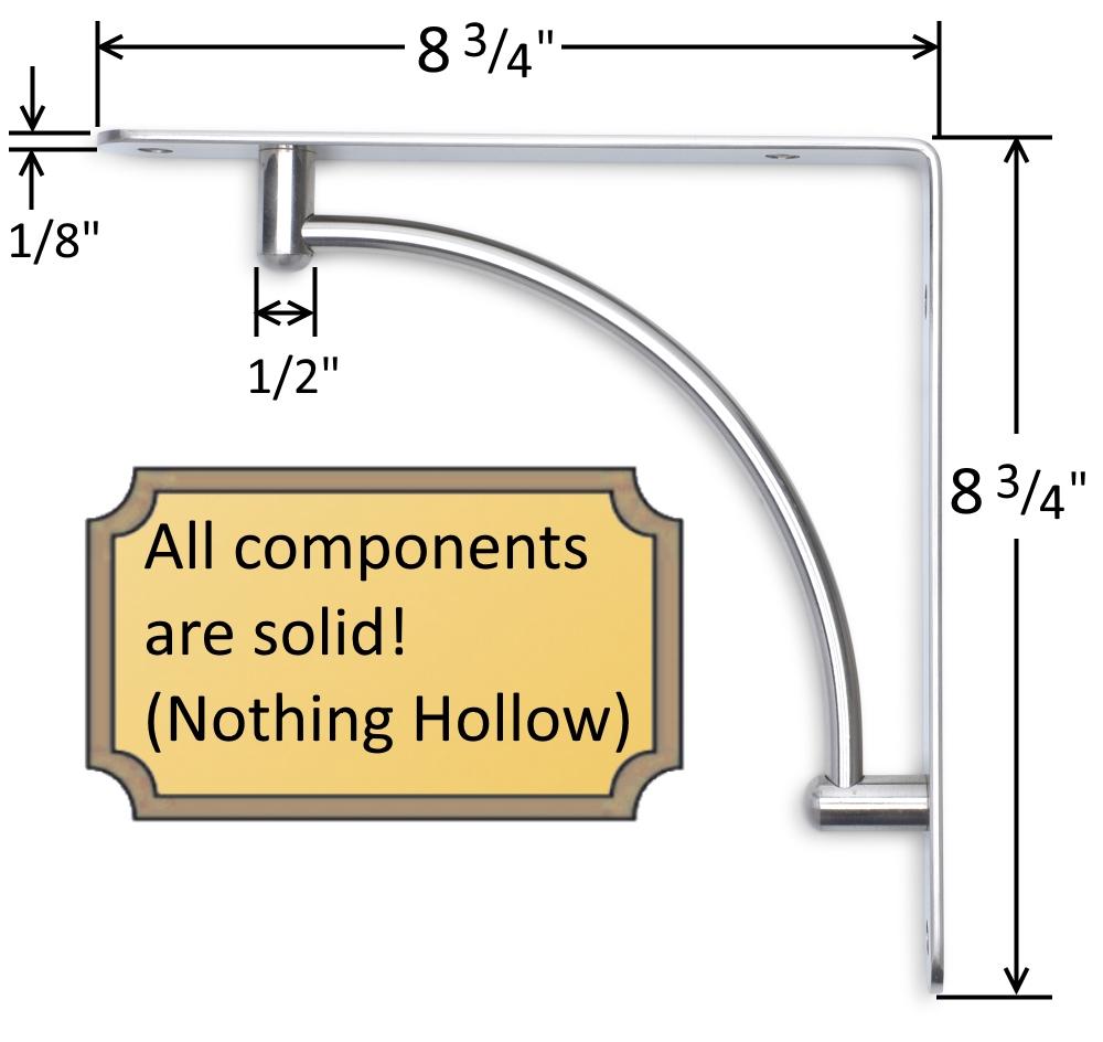 "Satin Nickel Contemporary Shelf Bracket - 8 3/4"" x 8 3/4"""