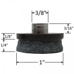 """1 Inch """"Hollow Nail"""" Felt Chair Glide, Pack of 16"""