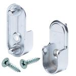 Oval Closet Rod End Cups - Rear Pin - Polished Chrome