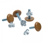 """White Nylon Furniture Levelers - 1/4"""" Threaded Shank w/T-Nuts - 400 Lb. Total Capacity - Set of 4, Color: White"""